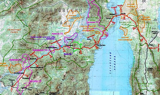 Схема перехода с материка на Сахалин