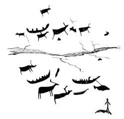 Охота на плывущих оленей, охота на кита. Рисунки на скале, названной археологами «Камень II» (эстампаж).