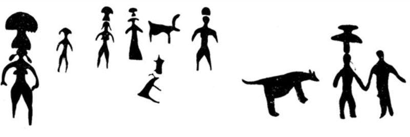 Загадочные «люди-мухоморы» - композиции на «Камне III» и «Камне I» (эстампаж).